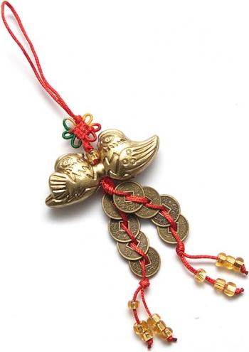 Canaf cu rate mandarine si monede remediu Feng Shui din Metal Rasina 120 mm lungime