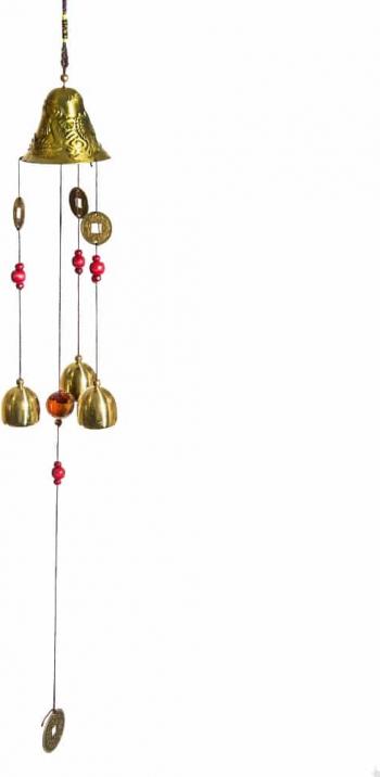 Clopotei de vant cu banuti pentru avere remediu Feng Shui din Metal 550 mm lungime