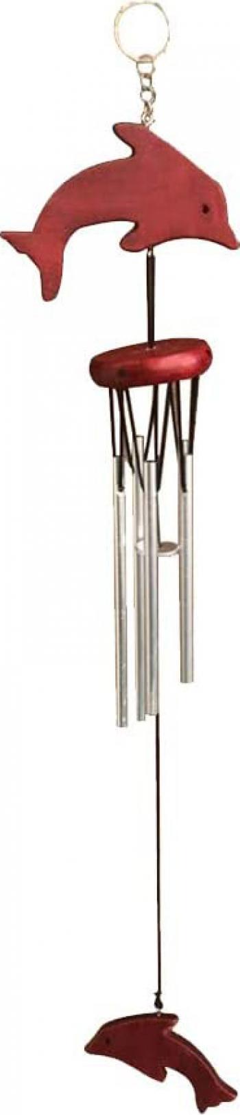 Clopotel de vant cu 6 tuburi si delfini remediu Feng Shui din Metal 690 mm lungime