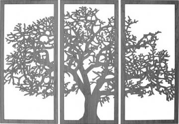 Decoratiune de perete Copac in 3 880x650 mm MDF 2.5 mm Negru Tablouri