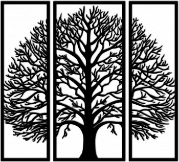 Decoratiune de perete Copacul Vietii 850x800 mm MDF 2.5 mm negru Tablouri