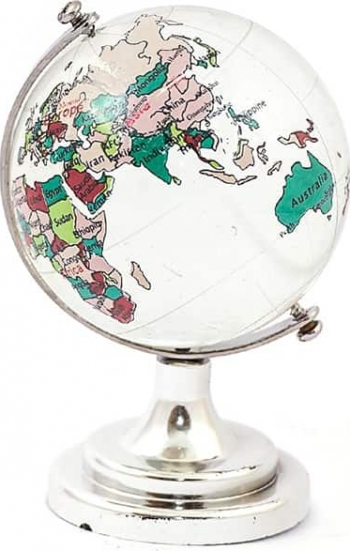 Glob pamantesc din cristal cu harta pictata mediu 45 mm remediu Feng Shui din Cristal 50 mm lungime