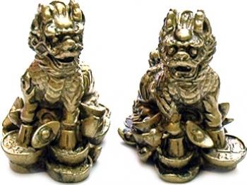 Pereche de Chi Lin aurii din rasina remediu Feng Shui din Rasina 50 mm lungime