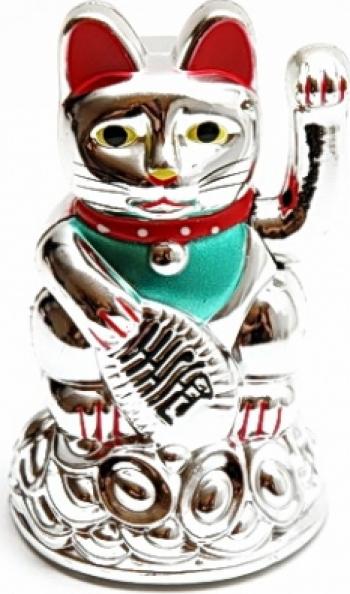 Pisica norocoasa Maneki Neko argintie remediu Feng Shui din Plastic 70 mm lungime