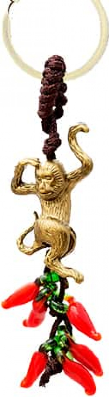 Remediu Feng Shui pentru bunastare Amuleta cu maimuta si ardei rosii din Rasina 30 mm lungime