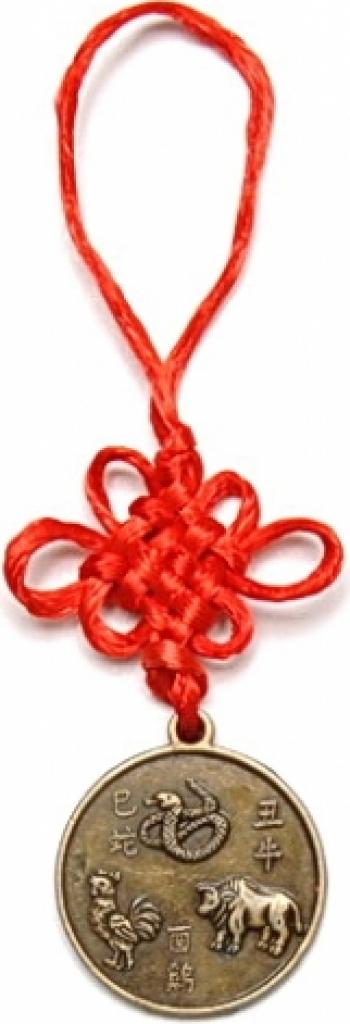 Remediu Feng Shui pentru bunastare Amuleta de protectie pentru aliati zodiacali Bivol Sarpe si Cocos din Alama 120 mm lungime