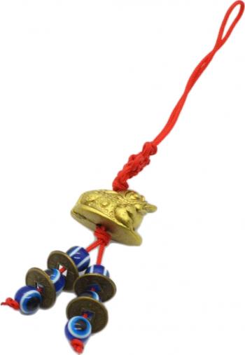 Remediu Feng Shui pentru bunastare si prosperitate Canaf cu broasca raioasa monede si ochi norocos din RasinaTextil 120 mm lungime