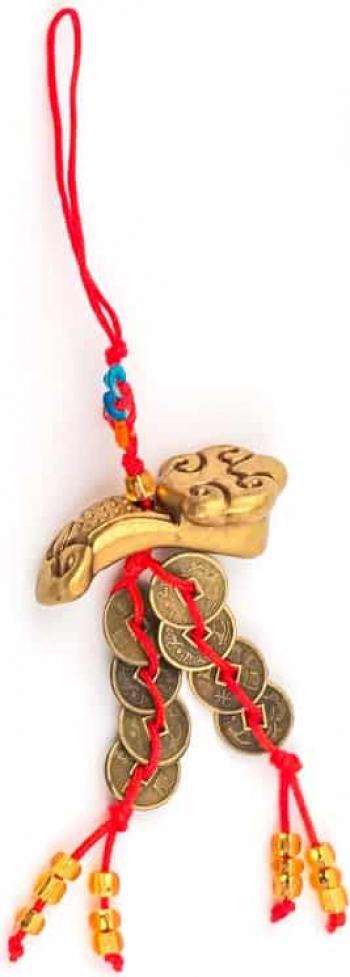 Remediu Feng Shui pentru bunastare si prosperitate Canaf cu Ru YI si monede si nod mistic din MetalSintentic 120 mm lungime