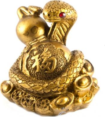 Sarpe auriu cu wu lou remediu Feng Shui din Rasina 65 mm lungime