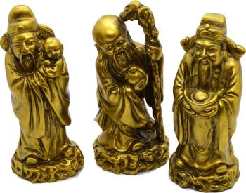 Set de 3 statuete cu Cei Trei Intelepti Fuk Luk Sau remediu Feng Shui din rasina 50 mm inaltime