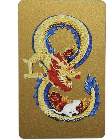 x000D x000D x000D Remediu Feng Shui pentru protectie si bunastare Card feng shui cu Dragon si Sobolan Mangusta in forma de cifra 8