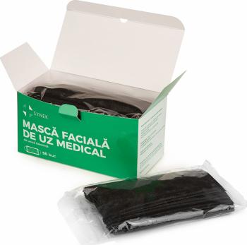 Masca medicala Neagra tip II de protectie set 50 masti cu 3 Straturi si 3 pliuri Synek Masti chirurgicale si reutilizabile