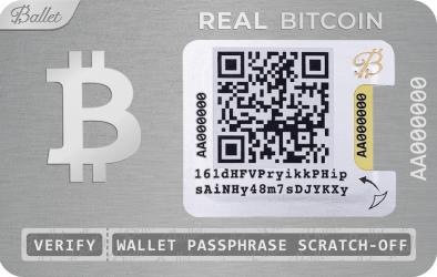Portofel hardware Real Bitcoin Ballet Argintiu cod QR Gadgeturi