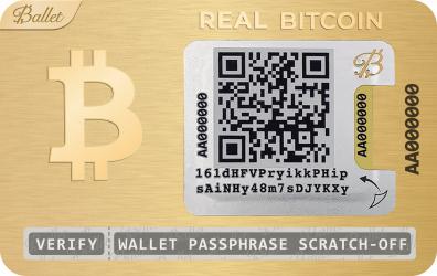 Portofel hardware Real Bitcoin Ballet Placat cu aur de 24K Auriu cod QR Gadgeturi