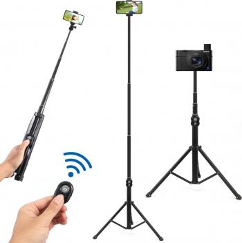 Selfie Stick 2 in 1 Multifunctional Bluetooth Suport telefon extensibil monopod pentru trepied cu telecomanda wireless pentru iPhone XS / Gimbal, Selfie Stick si lentile telefon