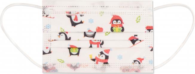 Set 50 bucati Masti faciale medicale de unica folosinta nesterile pentru copii Tip II R Synek model Pinguini