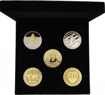 Cutie de prezentare de catifea cu 5 monede Bitcoin Ethereum Ripple FootballCoin Litecoin Cadouri