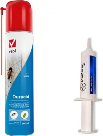 Set insecticid aerosol profesional Duracid 500 ml si Maxforce gel Bayer 20 gr anti gandaci muste furnici tantari purici Articole antidaunatori gradina