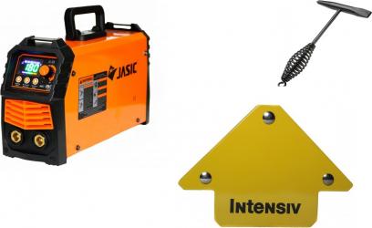 Aparat de sudura Jasic tip invertor ARC 180 LED SYNERGIC + Ciocan de sudura + Dispozitiv Magnetic