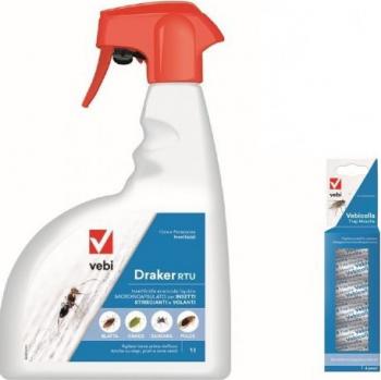 Set insecticid profesional Draker RTU 1 L si 6 x Banda adeziva de muste anti muste gandaci tantari furnici viespi Articole antidaunatori gradina