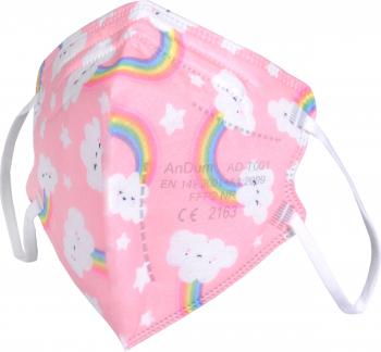 Masca roz cu desene FFP2 pentru copii 5 straturi Conforma cu CE 2163 ambalata individual Masti chirurgicale si reutilizabile