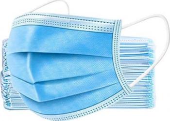 Set 50 masti de protectie unica folosinta 3 straturi 3 pliuri material netesut albastru Masti chirurgicale si reutilizabile