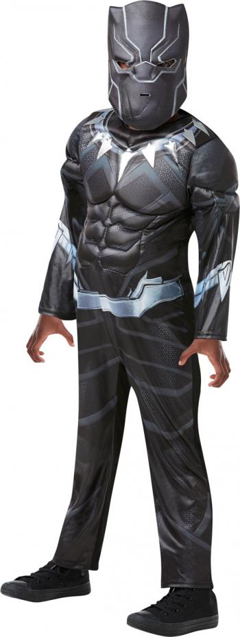 Costum cu muschi Black Panther Pantera Neagra marimea L 7-8 ani masca cadou
