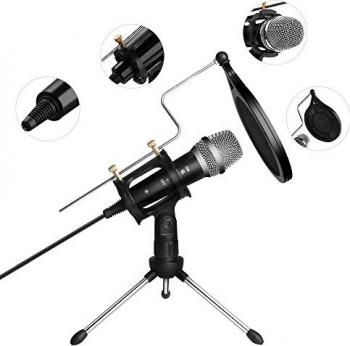 Microfon profesional de Studio cu condensator si mini trepied WG-500II