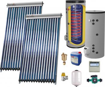 Set Sistem solar presurizat panou Fornello 40 Tuburi Heat Pipe boiler cu 2 serpentine si rezistenta electrica Eldom 300 litri cu montaj pe