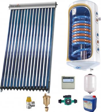 Sistem solar presurizat 4-5 pers panou solar Heat Pipe Sunsystem VTC 20 tuburi boiler 150 litri cu 2 serpentine Tesy Bilight pompa de