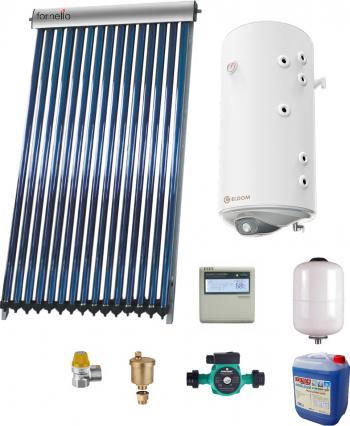 Sistem solar presurizat panou Fornello 10 Tuburi Heat Pipe boiler cu 2 serpentine si rezistenta electrica Eldom 100 litri pompa 25-60