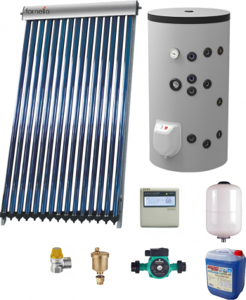 Sistem solar presurizat panou Fornello 15 Tuburi Heat Pipe boiler cu 2 serpentine si rezistenta electrica Eldom 150 litri cu montaj pe sol