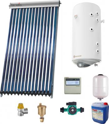Sistem solar presurizat panou Fornello 15 Tuburi Heat Pipe boiler cu 2 serpentine si rezistenta electrica Eldom 120 litri pompa 25-60