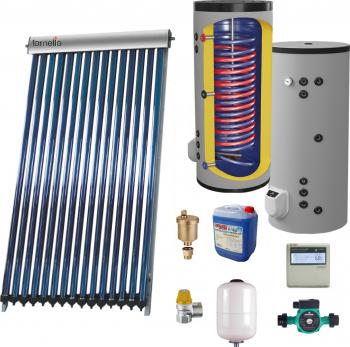 Sistem solar presurizat panou Fornello 20 Tuburi Heat Pipe boiler cu 2 serpentine si rezistenta electrica Eldom 200 litri cu montaj pe sol