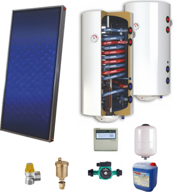 Sistem solar presurizat panou solar plan Sunsystem P SL FP 2.0 boiler cu 2 serpentine si rezistenta electrica Sunsystem 150 litri pompa