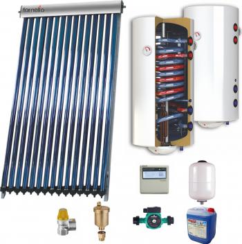 Sistem solar presurizat panou Sunsystem VTC 30 tuburi boiler cu 2 serpentine si rezistenta electrica Sunsystem 200 litri pompa 25-60