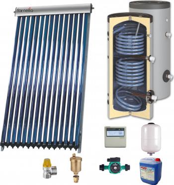 Sistem solar presurizat panou Sunsystem VTC 30 tuburi boiler cu 2 serpentine si rezistenta electrica Sunsystem SON 200 litri pompa 25-60