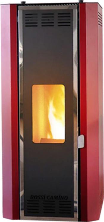 Termosemineu pe peleti Fornello Camino Rossi 25 kW modul Wi-Fi control de la distanta pompa Grundfos vas expansiune arzator inox rosu Termoseminee
