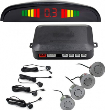 Set Senzori Parcare Auto Detector Parktronic Display Radar Monitor 4 Senzori GRI Inchis Alarme auto si Senzori de parcare