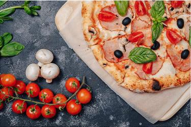 Panou decorativ din sticla securizata antistropire print UV model Pizza 2 600x500 mm