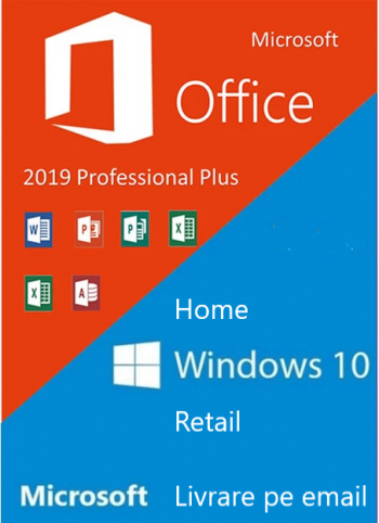 Windows 10 Home Retail + Microsoft Office 2019 Pro Plus Licenta Permanenta