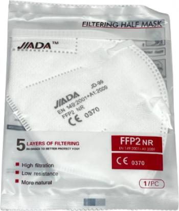 Set 50 masti Jiada FFP2 5 straturi BFE95 alb ambalare individuala certificare europeana CE 0370 Masti chirurgicale si reutilizabile