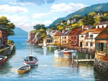 Set pictura pe numere Tablou cu barci si case Tablouri