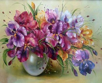 Set pictura pe numere Vaza cu flori multicolore Tablouri