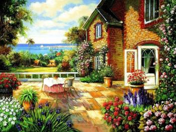Set pictura pe numere Casuta cu flori colorate Tablouri