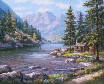Set pictura pe numere Casuta pe malul raului Tablouri
