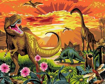 Set pictura pe numere Tablou cu dinozauri Tablouri
