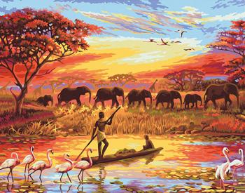 Set pictura pe numere Tablou cu elefanti in jungla Tablouri