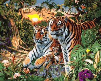 Set pictura pe numere Tablou cu tigrii Tablouri