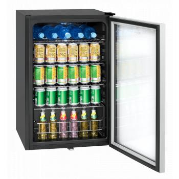 Frigider minibar cu usa din sticla Bomann KSG 7283.1 volum 115 l iluminare LED usa termopan silentios 4 rafturi inox ajustabile Mini Frigidere
